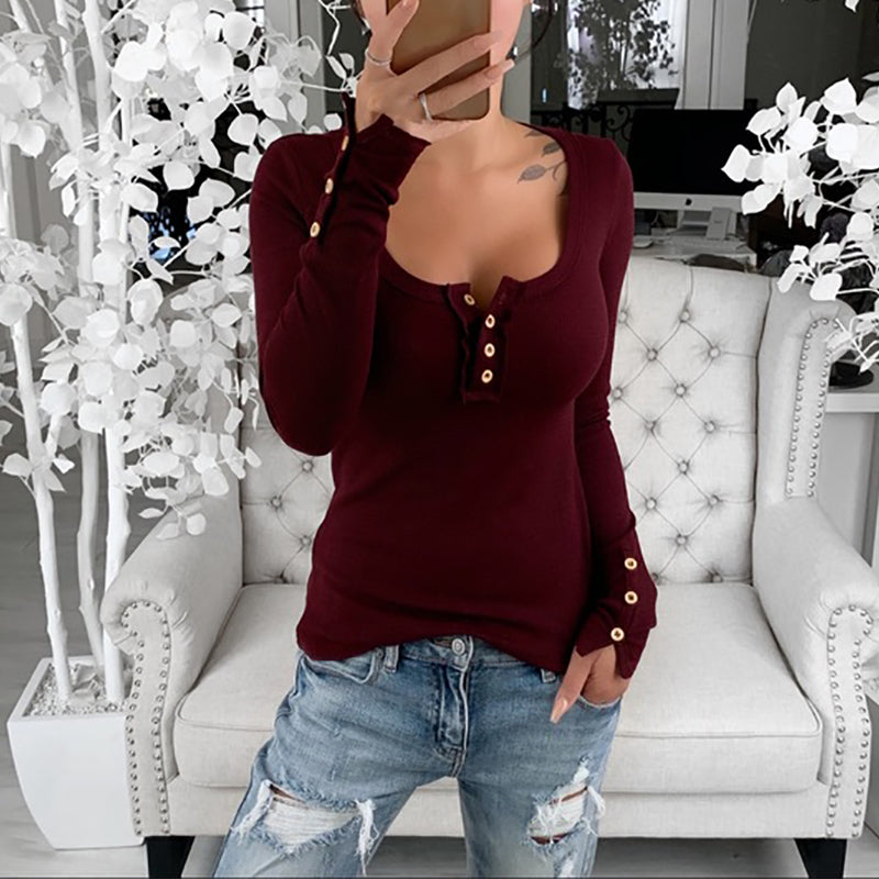 Tight-Fitting Button Open-Chest T-Shirt Top