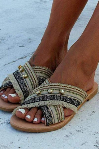 Summer Faux Jewels Decorated Bohemia Style  Flat Sandal