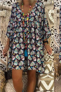 Summer V Collar Floral Printed Loose Vacation Dress