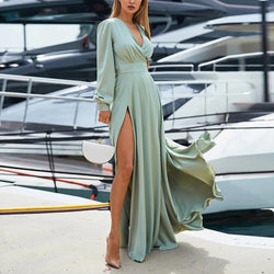 Deep V-Neck Open Long Skirt Maxi Dress