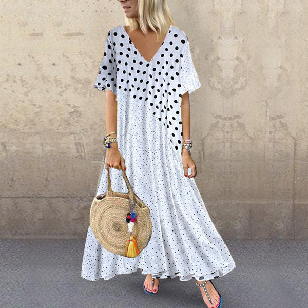 Fashion V Neck Polka Dot Dress