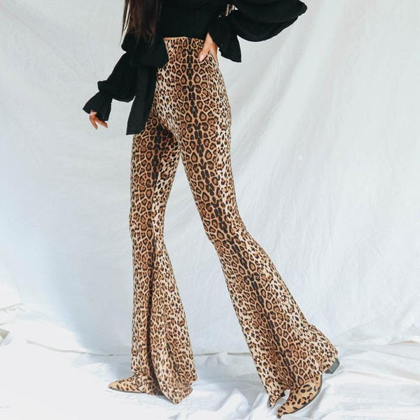 Stylish High-Waisted   Leopard Print Flared Trousers