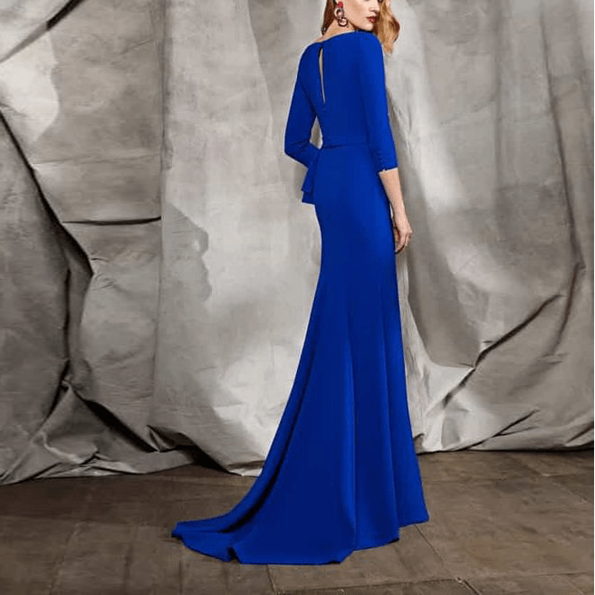 Sexy Deep V Collar Plain Slim Flouncing Irregular Evening Dress