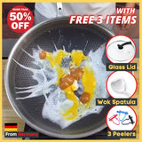 InstaWok™ German Technology Grade 316 Stainless Steel Double-Sided Screen Wok NOW  With  Additional 3 Free  Items