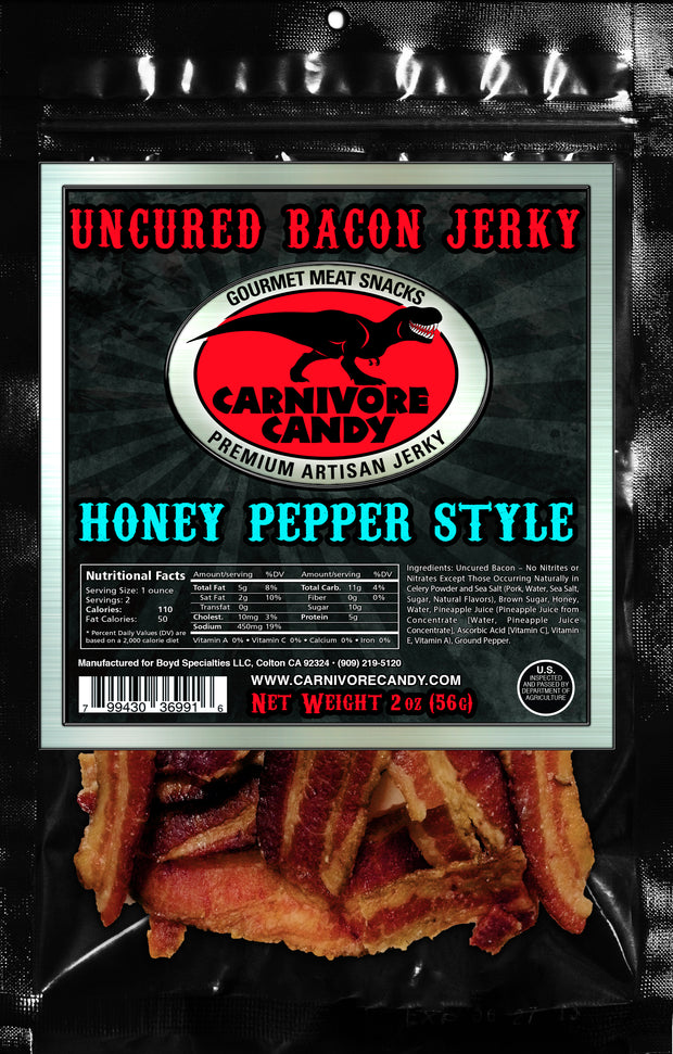 Honey Peppered Uncured Bacon Jerky