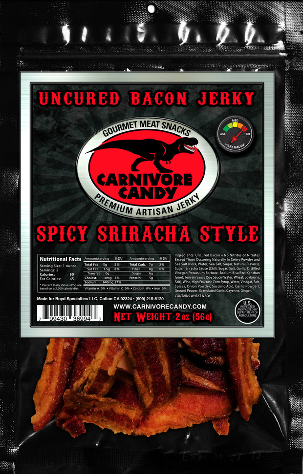 Spicy Sriracha Style Uncured Bacon Jerky