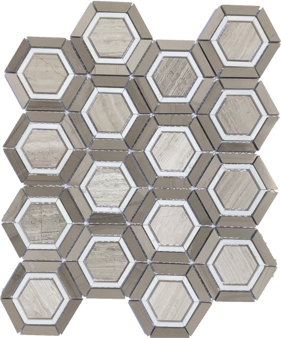 Camelia Hexagon - mosaics-4-you