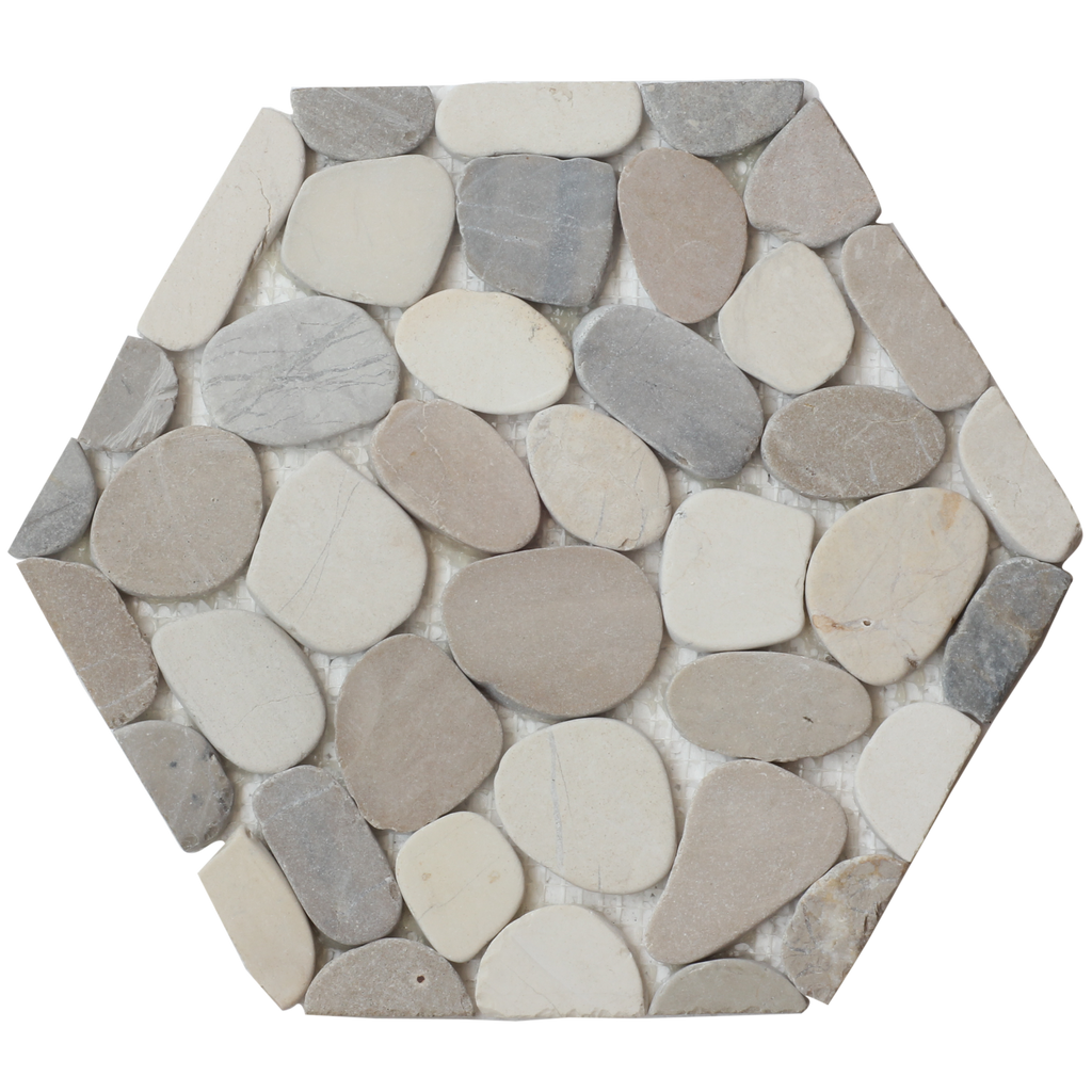 Pebble tile shower floor