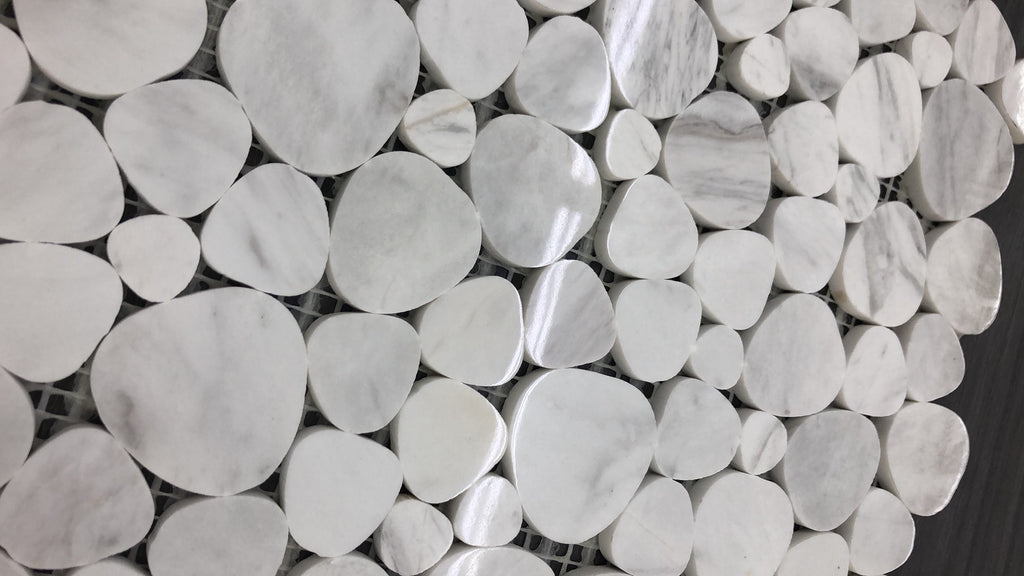 White Hearts Marble - mosaics-4-you