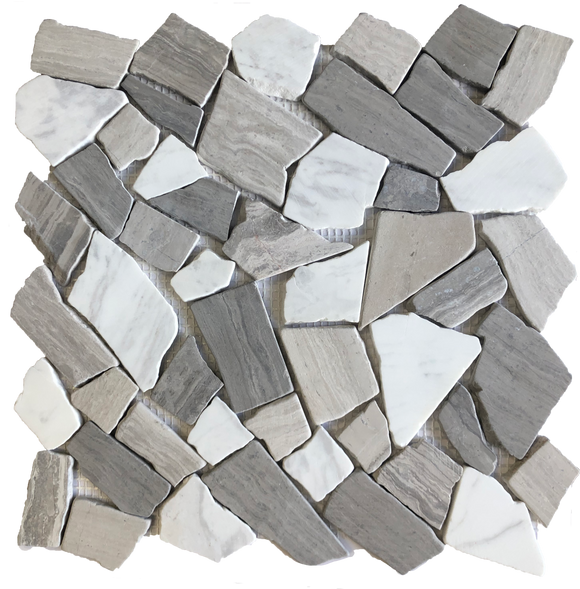 Broken stone mosaic tile backsplash