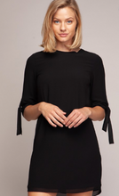 Load image into Gallery viewer, Round Neck Shift Dress with Tie Sleeve Detail