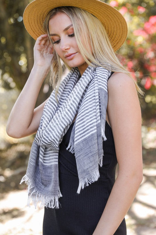 Lightweight Woven Striped Scarf (2 Colours)