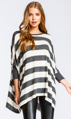 Round Neck 3/4 Sleeve Brushed Poncho Sweater