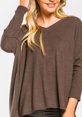 3/4 Sleeve V-Neck Brushed Sweater