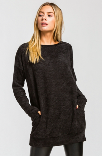 Chenille Long Sleeve Pockets Tunic Top
