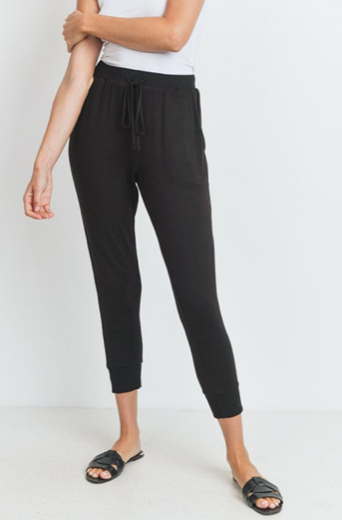 Solid Knit Jersey Cropped Pocket Joggers
