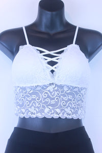 Cropped Cross Front Cupped Lace Bralette