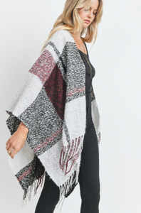 Plaid Print Fringed Detail Poncho Cardigan