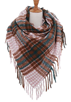Square Double Checker Pattern Scarf with Fringe