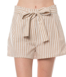 Striped Paperbag Shorts With A Tie