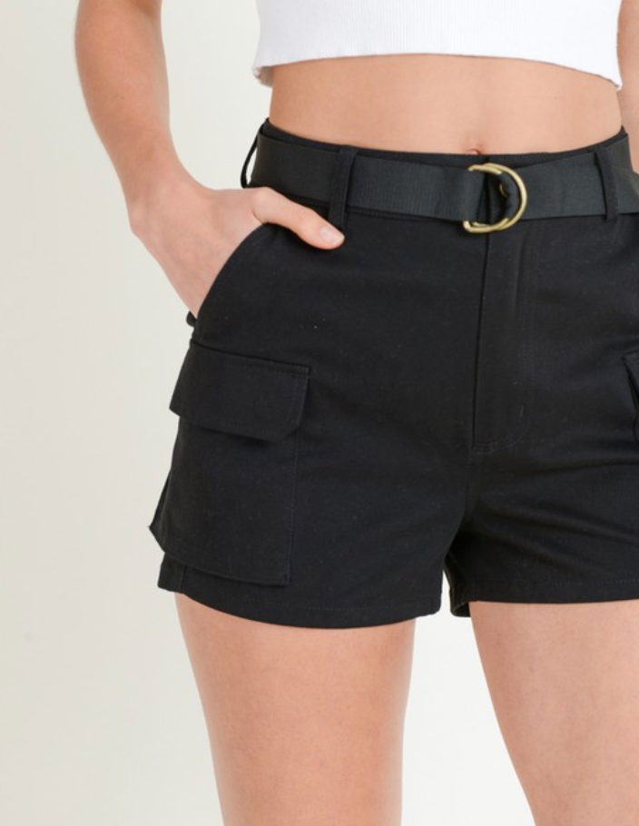 Cotton Cargo Shorts With Belt