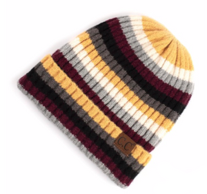 Multicolor Stripe Ribbed Knit Beanie with Cuff