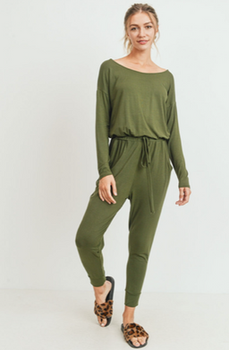 Long Sleeves Knit Jersey Pocket Jumpsuit