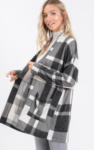 Open Front Knit Plaid Cardigan