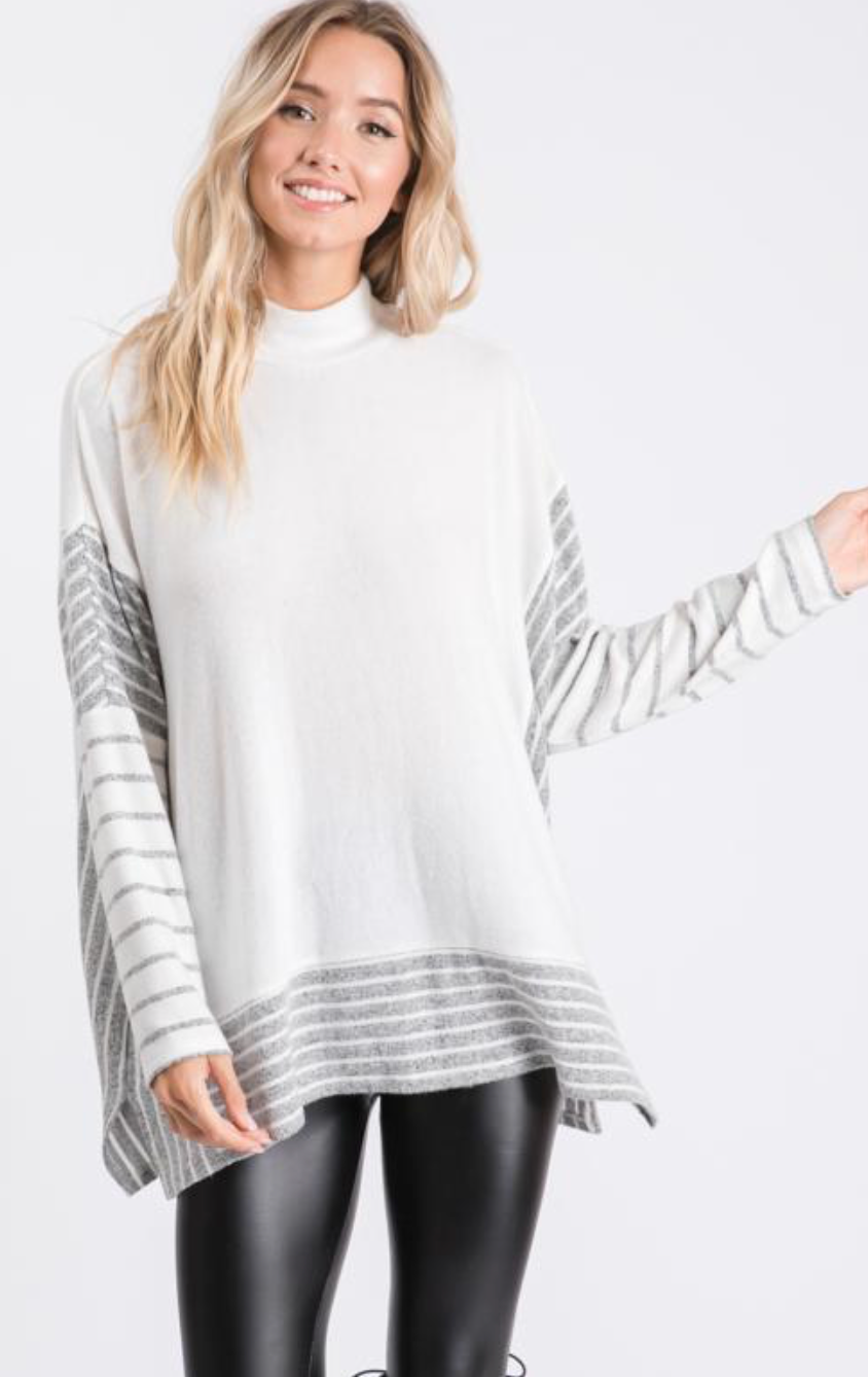 Mock Neck Brushed Hacci Poncho Sweater