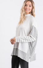 Load image into Gallery viewer, Mock Neck Brushed Hacci Poncho Sweater