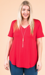 Modal SS V Neck - Plus Size (6 Colours)
