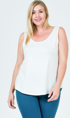 Modal Scoop Neck Jersey Tank- Plus Size