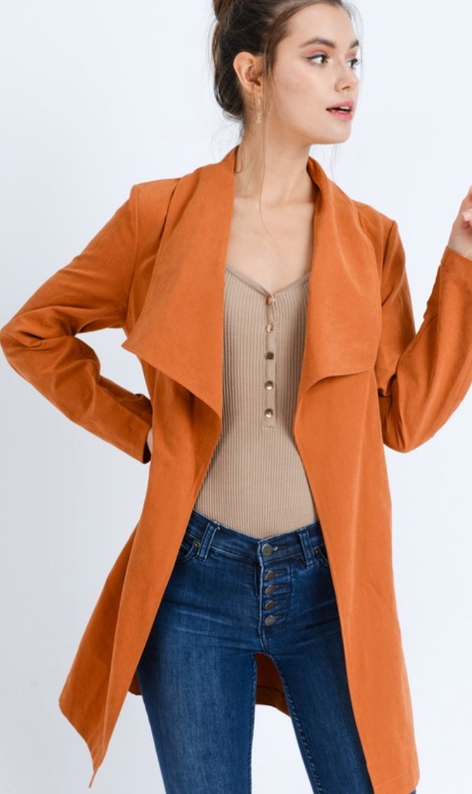 Oversize Collar Belted Trench Coat Jacket