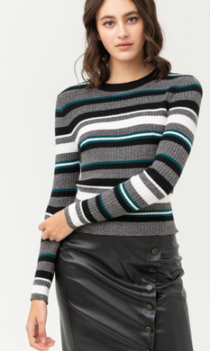 Striped and Fitted Sweater Top