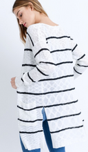 Load image into Gallery viewer, Striped LS Long Line Cardigan
