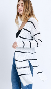 Striped LS Long Line Cardigan