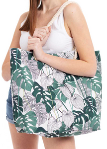 Multi Leaf Print Canvas Tote