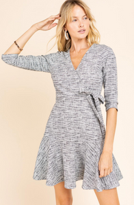 Faux Wrap Quarter Sleeve Dress with Ruffle Tier Hem