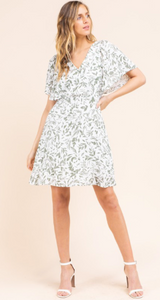 Ruffle Sleeve Surplice Dress