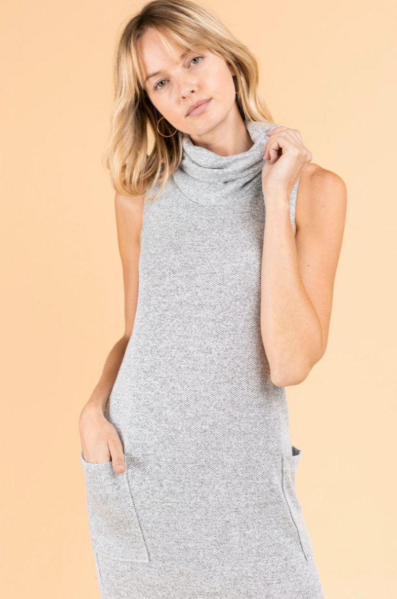Midi Tunic Dress with Cowl Neck
