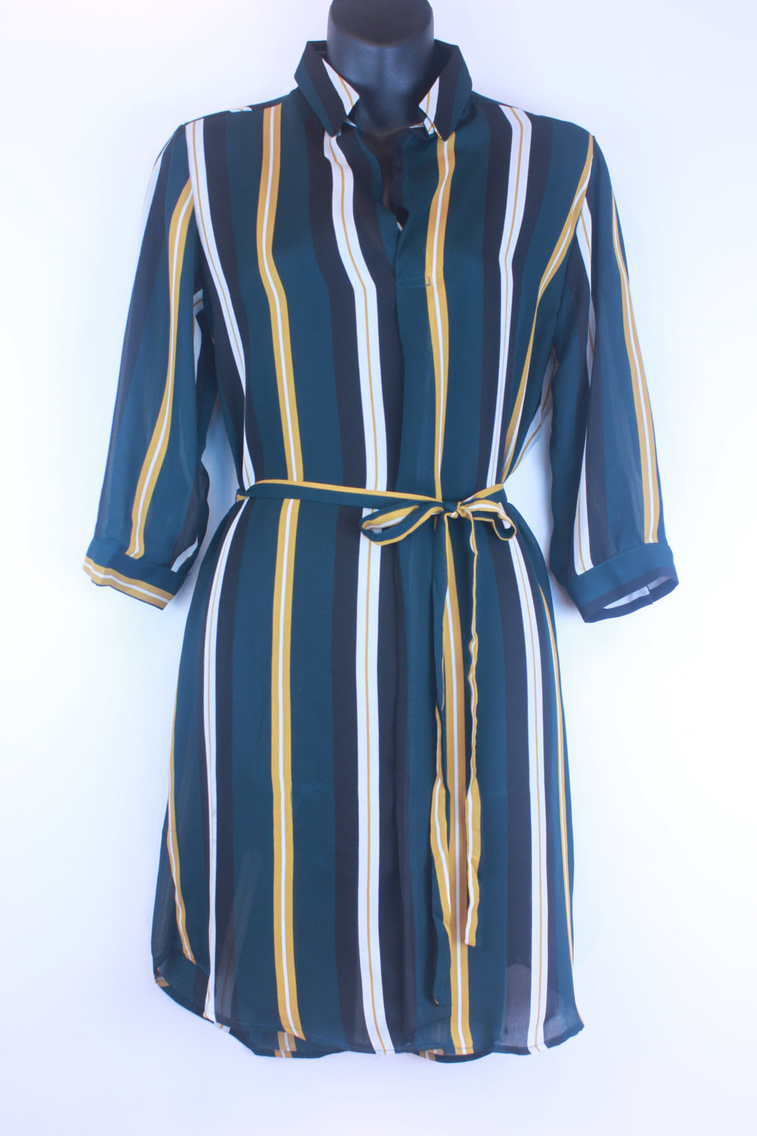 Chiffon Stripe Self Tie Tunic Dress