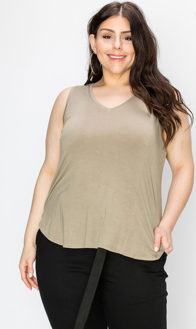 V Neck Tank - Plus Size (2 Colours)
