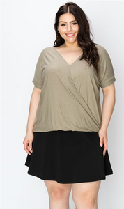 Surplice SS Top - Plus Size (3 Colours)