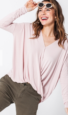 Surplice Front Cross Draped Top