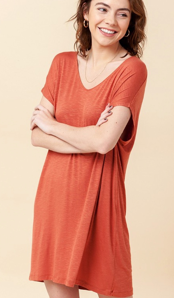 V Neck Dolman SS Shift Mini Dress/Long Top