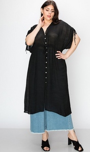 Button Down Cover Up Dress - Plus Size