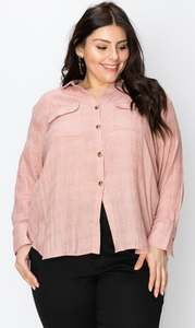 Button Down Utility LS Shirt - Plus Size