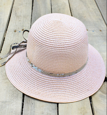 Straw Hat with Snakeskin Print Ribbon