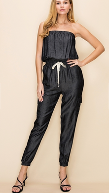 Tube Jumpsuit With Drawstrong Waist