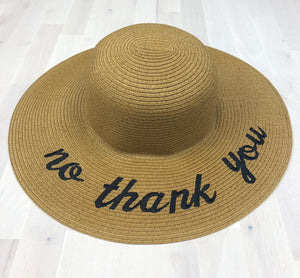 "Embroidered ""No Thank You"" Floppy Wide Brim Straw Sun Hat"